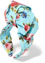 Dolce & Gabbana Floral-print Silk-satin Headband - Blue