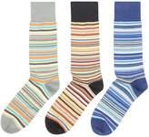 Paul Smith Men's 3 Pack Multi Stripe Sock