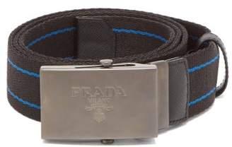 Prada Striped Canvas Belt - Mens - Black Blue