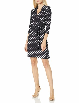 Star Vixen Women's Petite 3/4 Sleeve Faux Wrap Dress with Collar