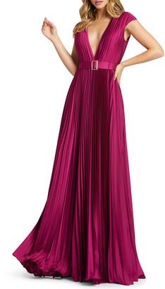Mac Duggal Deep V-Neck Cap-Sleeve Pleated Satin Gown