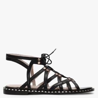 Daniel Invie Black Leather Studded Gladiator Sandals