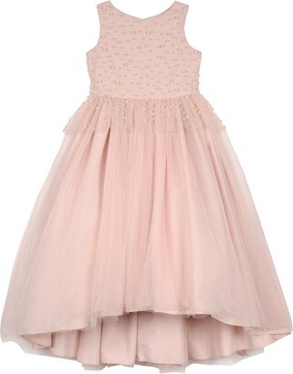 Badgley Mischka Imitation Pearl Beaded Peplum Dress
