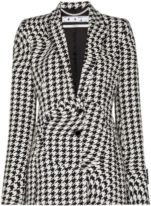 Off-White Houndstooth Single-Breasted Blazer