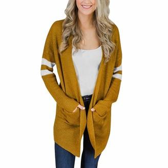 Rikay Women Sweater Rikay Womens Lightweight Knitted Stripe Long Jumpers Cardigans Cape Oversized Pocket Open Front Sweater Size 8-18 UK Yellow