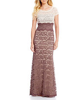 Adrianna Papell Two-Tone Scalloped Lace Gown