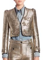Roberto Cavalli Gold Lame Embroidered Monkey Jacket