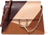 Chloé Faye Paneled Leather Shoulder Bag - Brown