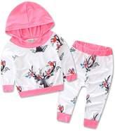 Zoe's wardrobe Baby Girls Flowers Antlers Fleece Hoodie+ Long Pant Leggings 2 Piece Outfits (0-6M)