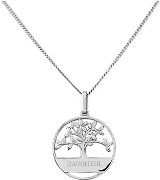Keepsafe Sterling Silver Tree of Life Design Personalised Pendant