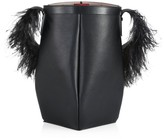 Valentino Garavani By Your Side Feather-Trimmed Leather Bucket Bag