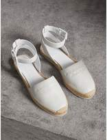 Burberry Embossed Grainy Leather Espadrille Sandals