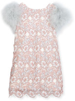 Charabia Feather-Sleeve Lace Shift Dress, Pink, Size 2-6