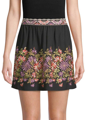 Anna Sui Daisy Embroidered Mini Skirt