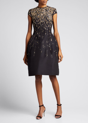 Oscar de la Renta Golden Firework Embroidered Silk Cocktail Dress