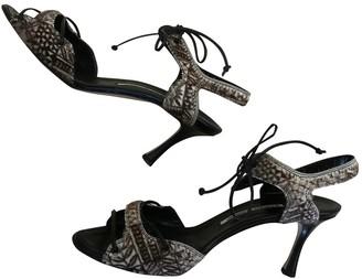 Manolo Blahnik Black Pony-style calfskin Sandals