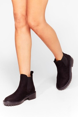 Nasty Gal Womens Walkin' Your Way Faux Suede Chelsea Boots - Black - 3