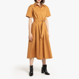 La Redoute Collections Cotton Midi Shirt Dress with Tie-Waist