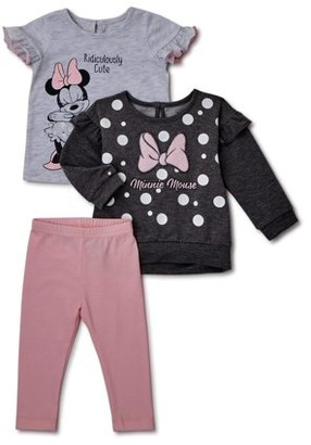 Minnie Mouse Disney Baby Girl Sweater, T-shirt & Leggings, 3-Piece Outfit Set