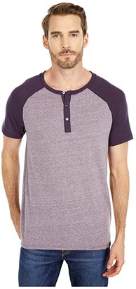 Threads 4 Thought Color-Block Raglan Short Sleeve Henley (China Blue/Midnight) Men's Clothing