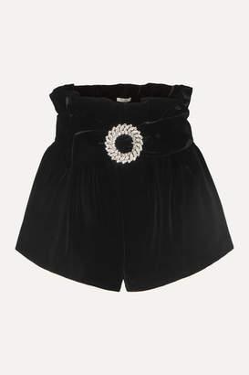 Miu Miu Belted Velvet Shorts - Black