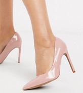 BEIGE Asos Design ASOS DESIGN Wide Fit Porto pointed high heeled court shoes in patent