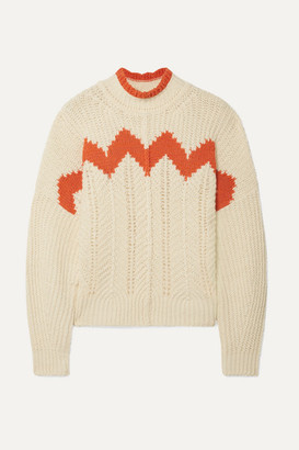 Isabel Marant Bell Intarsia Paneled Open-knit Cotton-blend Turtleneck Sweater - Ecru