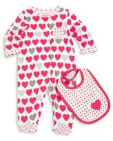 Offspring Baby Girl's Two-Piece Heart-Print Footie & Bib Set