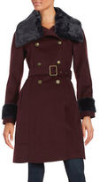 Vince Camuto Faux Fur Trim Double Breasted Belted Coat