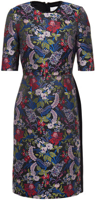 Erdem Paneled Floral-jacquard And Crepe Dress