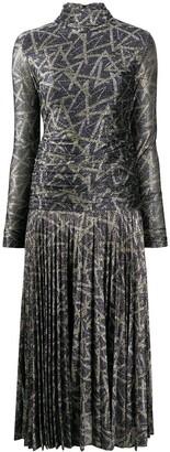 Victoria Victoria Beckham Metallic Draped-Body Dress