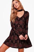 boohoo Rhea Paisley Choker Swing Dress
