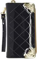 [KIREI obsession] Women's, Long Wallet with Smartphone Pocket, Diamond Cross Pattern, Patent Leather (PU), Round Zip, Strap, Purse, Clutch, Wristlet [IN GIFT BOX] [BLACK]