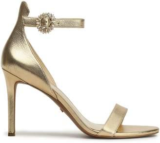MICHAEL Michael Kors Crystal-embellished Metallic Leather Sandals