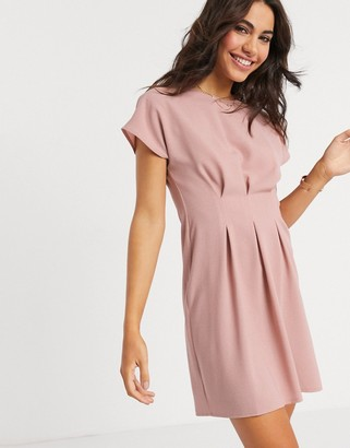 ASOS DESIGN nipped in waist mini dress in pink