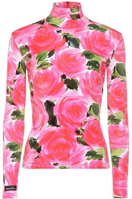 Richard Quinn Floral velvet turtleneck top
