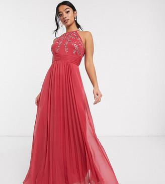 Asos DESIGN Petite embroidered halter pleated mesh detail midi dress-Pink