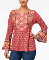 Style&Co. Style & Co Mixed-Print Babydoll Top, Created for Macy's