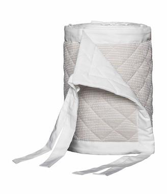 Bovi Fine Linens Baby Seersucker Crib Bumper, White/Taupe