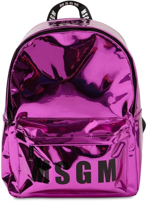MSGM Logo Print Mirror Effect Backpack