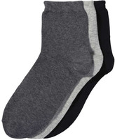 Joe Fresh Women's 3 Pack Quarter Height Socks, Charcoal (Size 9-11)