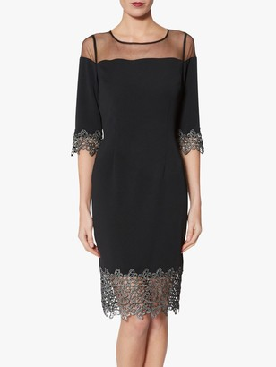 Gina Bacconi Pria Lace Trim Dress, Black