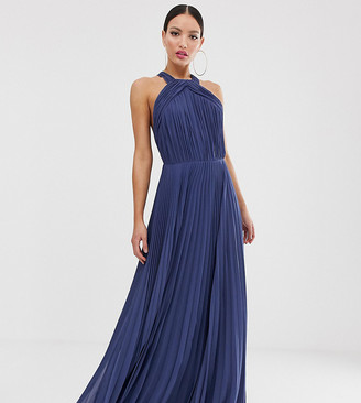 Asos Tall DESIGN Tall pleated bodice halter maxi dress-Blue