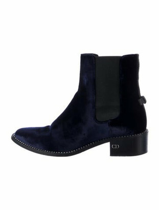 Christian Dior Tomboy Crystal Embellishments Chelsea Boots Blue