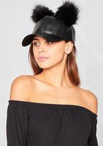 Missy Empire Mya Black Faux Leather Double Pom Pom Cap