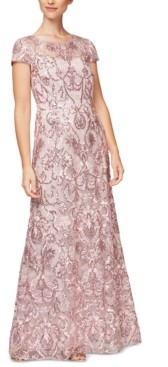 Alex Evenings Embroidered-Sequin Gown, Created for Macy's