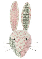 Fiona Walker England Patchwork Rabbit Head Wall Mount, Gray/Pink