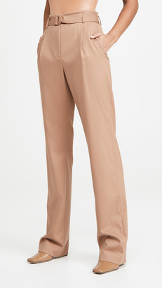 Sally LaPointe Luxe Wool Twill High Waisted Belted Pants