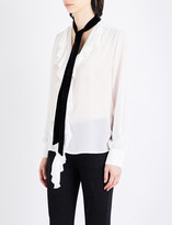 Mo&Co. Contrast-tie silk-crepe blouse