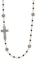 Lois Hill Sterling Silver Black Onyx Beaded Side Cross Collar Necklace